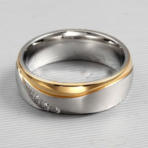 Custom Name Men's Cheap Wedding Band 6mm Gold Plated Titanium