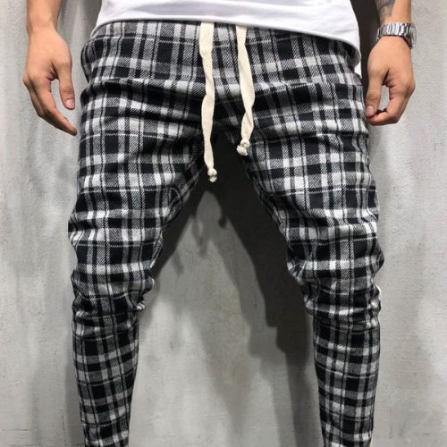 CHECKERED SWEATPANTS SIDE STRIPES 4375