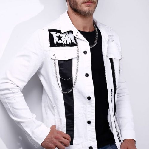 WHITE DENIM JACKET PATCHED 4528
