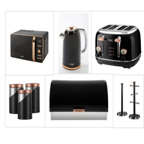 Tower Retro Rose Gold & Black Set of 9 – Digital 20L Microwave, 1.7 Litre Jug Bottega Kettle & 4 Slice Toaster, Retro Bread bin, 3 Canisters, Towel Pole & 6 Mug Tree Set