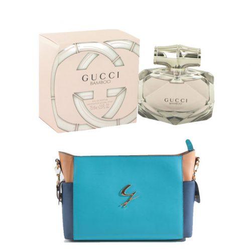 GUCCI Bamboo Eau De Perfum(2.5 oz/75ml) With Shoulder Chain Handbag by Gattinoni