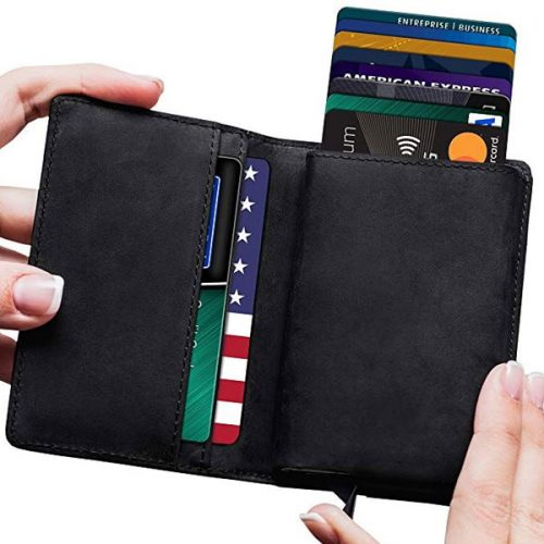 Leather RFID Minimalist Wallets for Men with Slim Pop-up Card Holder