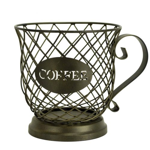 Boston Warehouse 33458 Coffee Mug Kup Keeper, Storage Basket, Brown