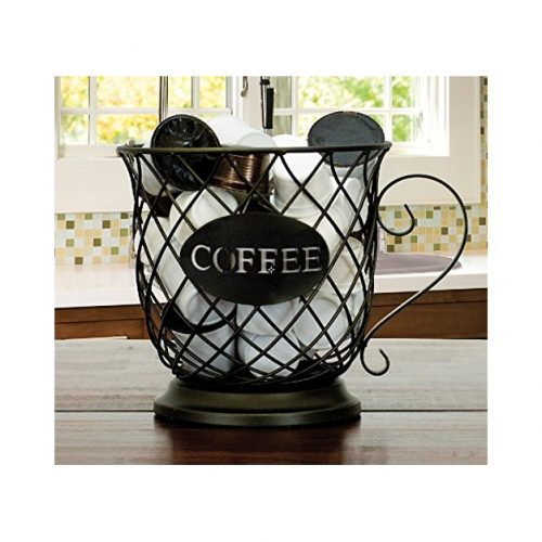Boston Warehouse 33458 Coffee Mug Kup Keeper, Storage Basket, Black