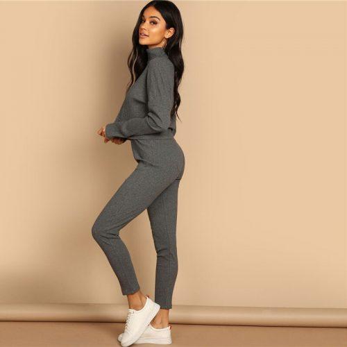 Women's Casual Grey Pants Suit