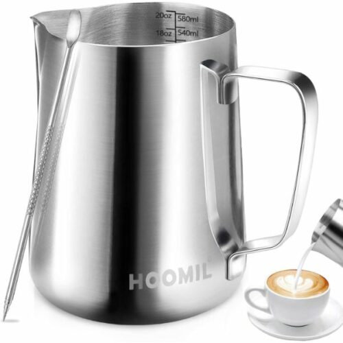 Milk container made with  stainless steel 600ml milk foaming container/pitcher with barista for latte craftsmanship pen, jug for the milk frother for cappuccino & macchiato by HOOMIL