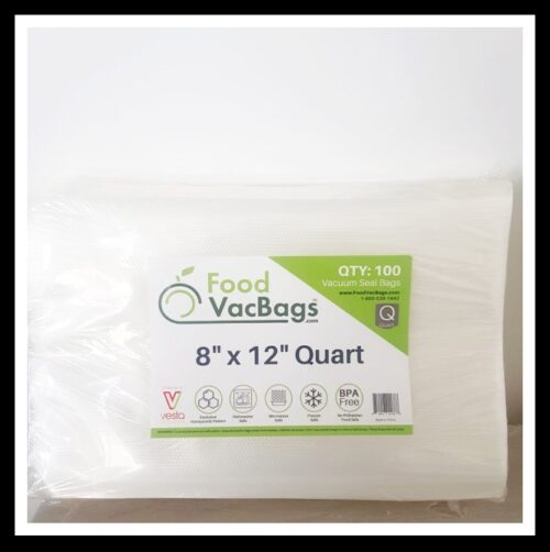 FoodVacBags100 count 8″ X 12″ Quart Vacuum Seal Bags