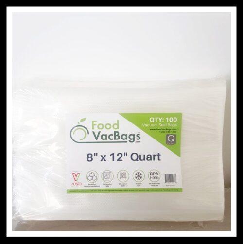 FoodVacBags100 count 8″ X 12″ Quart Vacuum Seal Bags