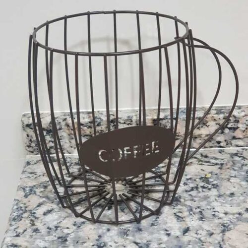 Wire Basket Coffee Pod Cups Holder Brown