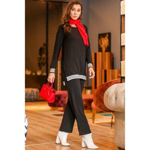 Women's White Striped Black Tunic & Pants Set