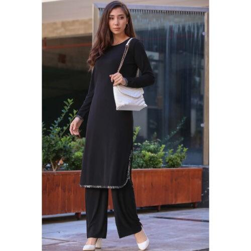 Women's Black Tunic Pants Set