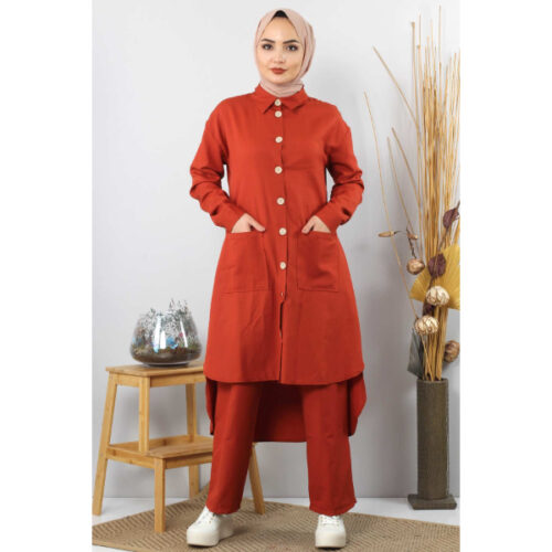 Women's Pocket Tile Red Modest Tunic & Pants Set