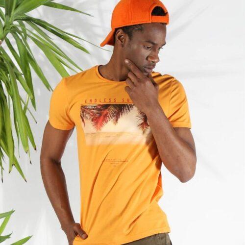 Men's Printed Orange T-shirt