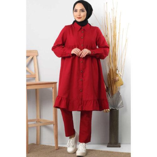 Women's Ruffle Claret Red Modest Tunic & Pants Set