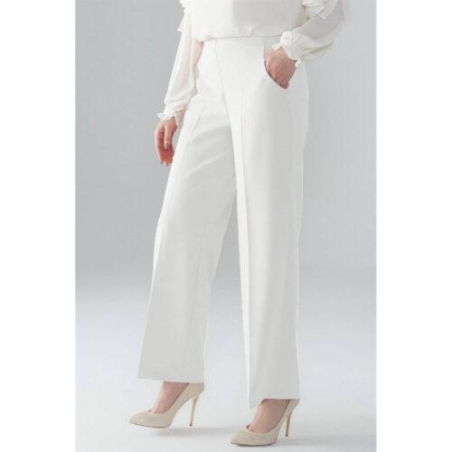 Women's Elastic Waist Ecru Pants