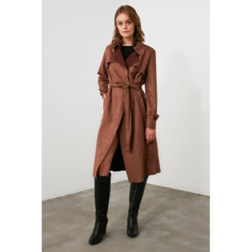 Women's Belted Brown Suede Trenchcoat