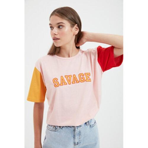 Women's Embroidered Pink Boyfriend T-shirt