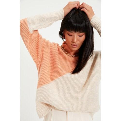 Women's Salmon Color Block Tricot Sweater