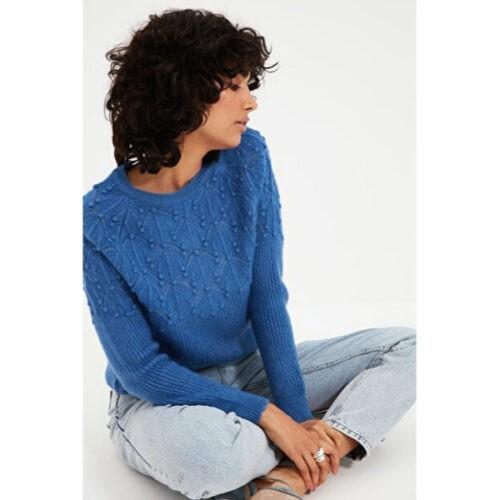 Women's Bobble Blue Tricot Sweater