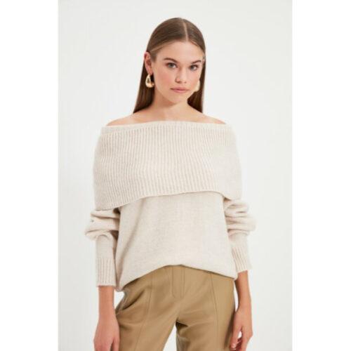 Women's Beige Tricot Sweater