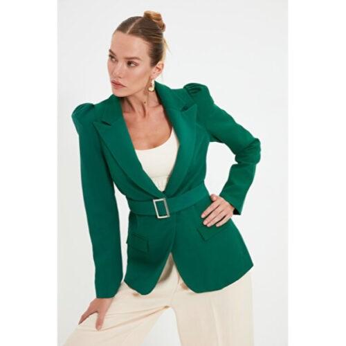 Women's Belted Green Blazer Jacket