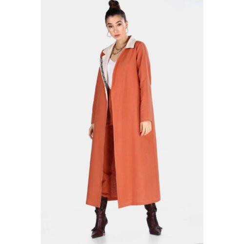 Women's Belted Tile Red Long coat