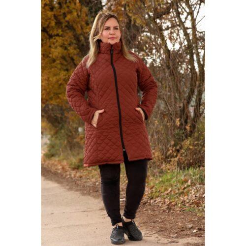 Women's Oversize Hooded Tile Red Coat