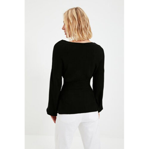 Women's Black Tricot Sweater