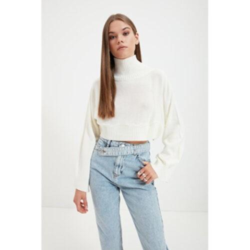 Women's Turtleneck Ecru Tricot Crop Sweater