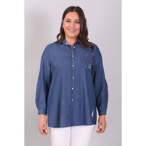 Women's Embroidered Pocket Blue Denim Shirt