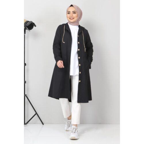 Women's Hooded Pocket Black Modest coat