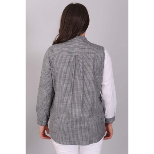 Women's Denim Detail Striped Black Shirt
