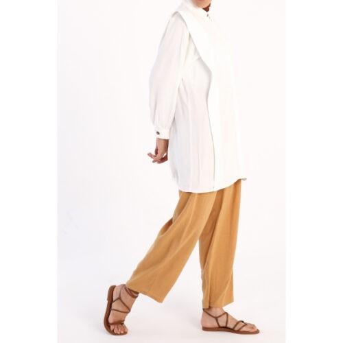 women's hidden button ecru tunic
