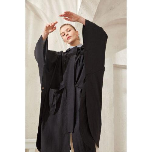 Women's Hooded Black Poncho