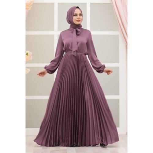 Women's Pleated Lilac Modest Evening Dress