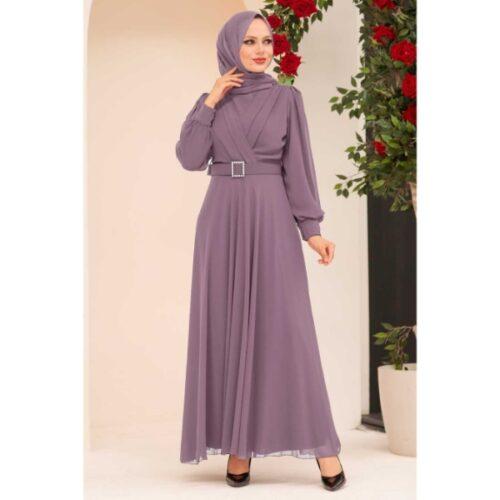 Women's Belted Lilac Modest Evening Dress