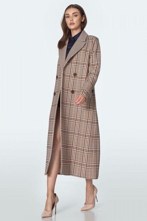 Women's Checkered Coat – 36, Beige