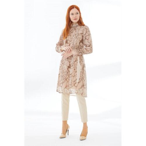 Women's Belted Leopard Pattern Beige Tunic
