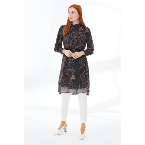 Women's Belted Leopard Pattern Black Tunic